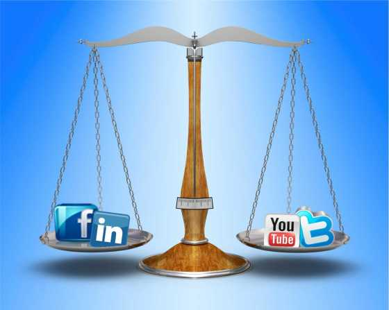 Scales of justice with social media icons